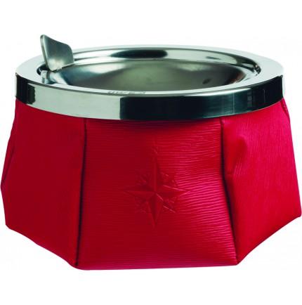 Cendrier rouge antidérapant simili cuir avec couvercle