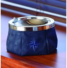 Cendrier inoxydable en daim bleu avec couvercle