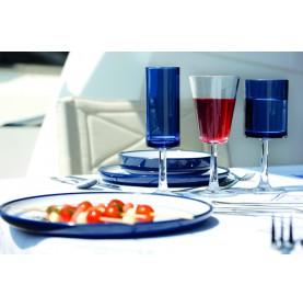 Service de 12 verres à vin bleu lagon effet martelé pour bateau