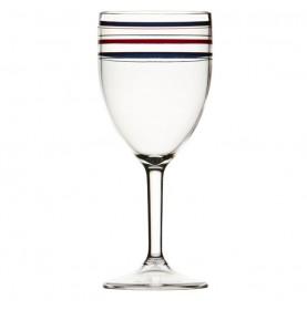 "6 verres à pied rayures bleues marine - ""MONACO"""