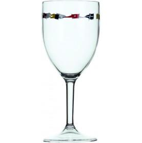 6 verres à vin motif drapeaux
