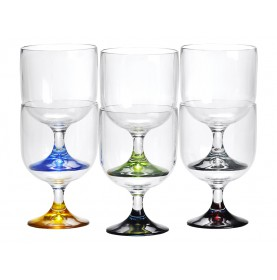 6 verres à vin empilables base multicolore