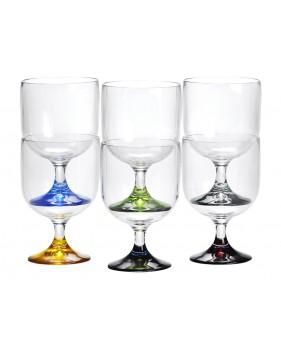 6 verres à vin empilables base multicolore