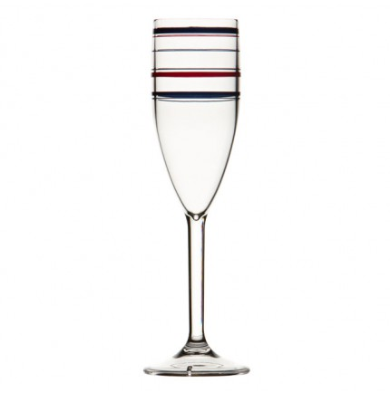 """6 flûtes à champagne à rayures bleues - """"MONACO"""""""