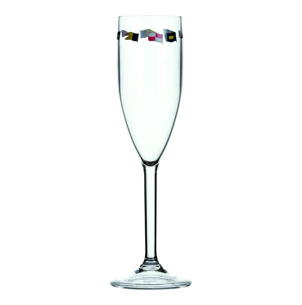 6 flûtes à champagne motif drapeaux