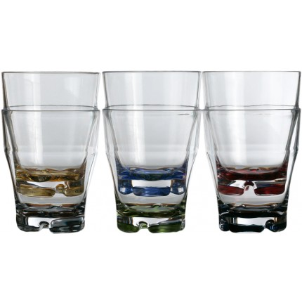 "6 verres à eau bas empilables avec base multicolore - ""PARTY"""