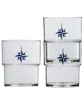 "12 verres empilables transparents rose des vents - ""NORTHWIND"""
