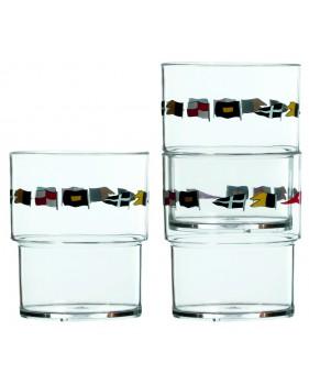 """12 verres empilables motif drapeaux marins - """"REGATA"""""""
