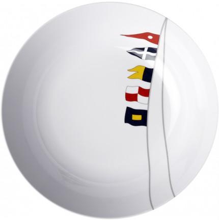 6 assiettes creuses antidérapantes motifs pavillons