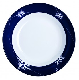 6 assiette à soupe creuse à bordures bleues marine
