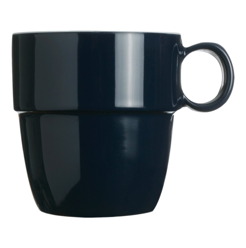 "6 mugs bleu marine incassables empilables - ""COLUMBUS"""