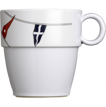 "6 mugs blanc antidérapants à motif pavillons marins - ""REGATA"""