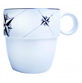 """6 mug blancs imprimés roses des vents - """"NORTHWIND"""""""