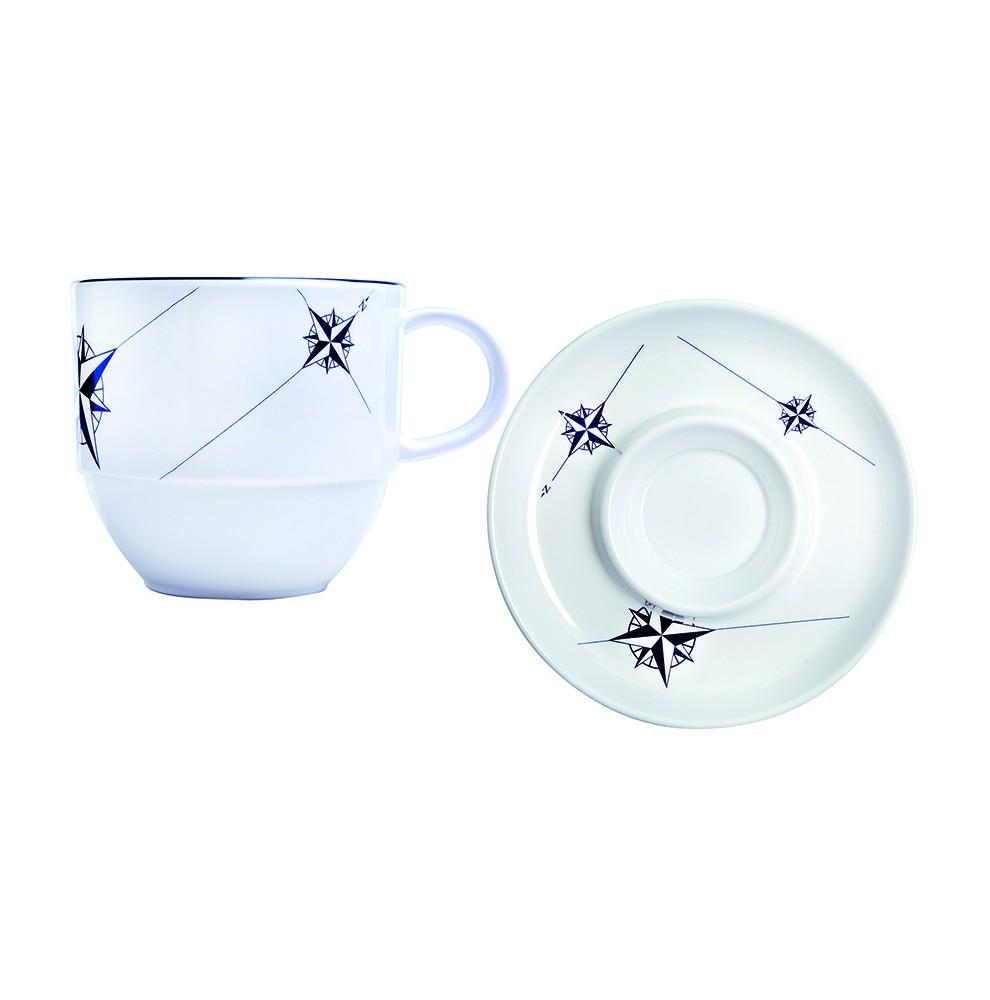 6 tasses à thé et sous-tasses anti-chute blanches