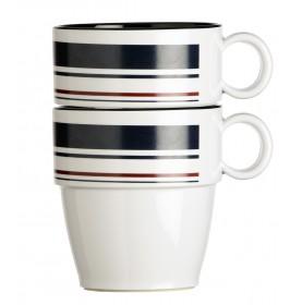 6 mugs antidérapants à rayures bleues