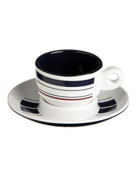 Service de 6 tasses + sous-tasses à café rayées