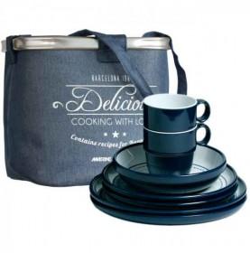 """Service de vaisselle bleue à motifs sérigraphiés marins - """"COLUMBUS"""""""