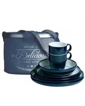 """Coffret vaisselle 16 pièces : assiettes + mugs + saladier - """"COLUMBUS"""""""