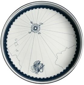 """Plateau de service rond à motifs marins sérigraphiés et rebords - """"COLUMBUS"""""""