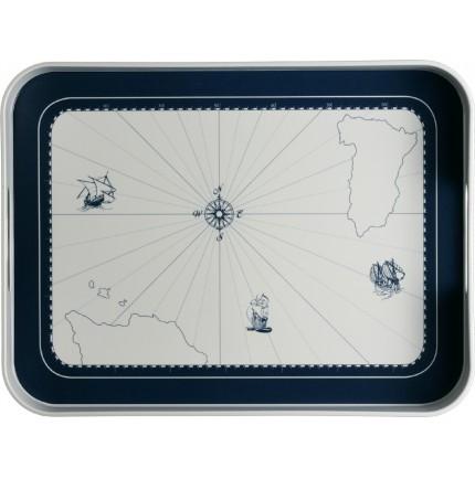 """Plateau de service rectangulaire à contour bleu et motifs marins - """"COLUMBUS"""""""
