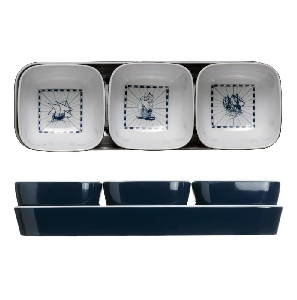 Set de coupelles bleues à biscuits apéritif décorées de motifs marins