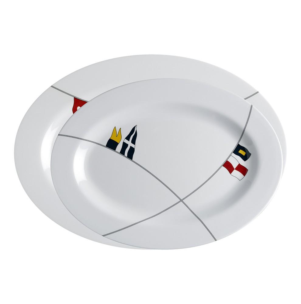 "2 plats ovales blancs à motifs drapeaux marins - ""REGATA"""
