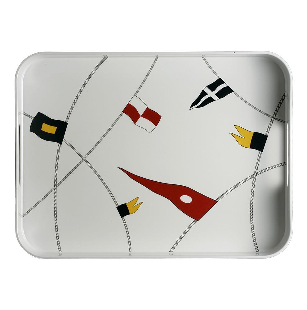 Plateau rectangulaire avec rebords à motifs drapeaux de bateau