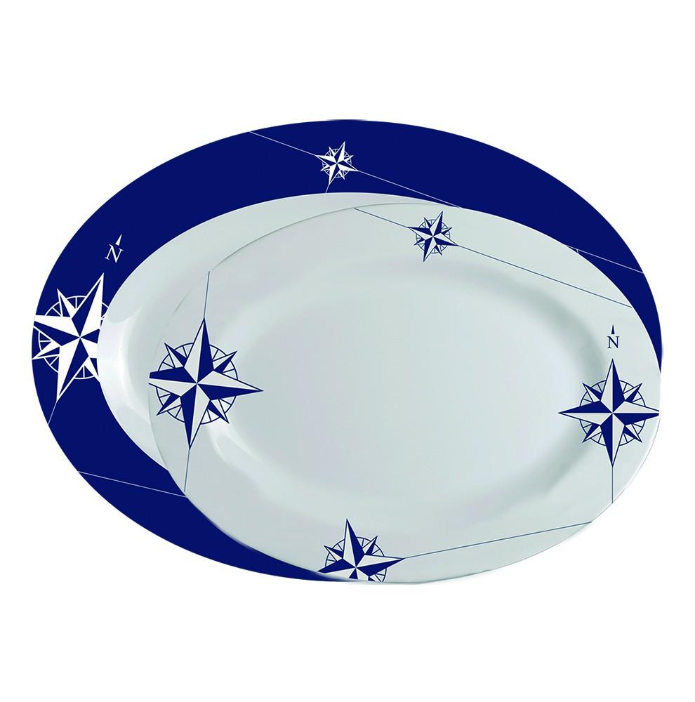 """2 plats ovales : 1 blanc, 1 bleu imprimés roses des vents - """"NORTHWIND"""""""