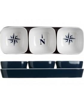 Set à biscuits apéritif bleu et blanc motifs nautiques