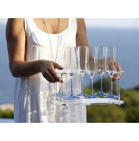 "Plateau porte-flûtes à champagne bleu antidérapant - ""PARTY"""