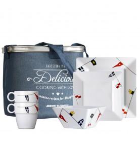 """Pack vaisselle antidérapante 24 pièces blanche à décoration marine - """"REGATA"""""""