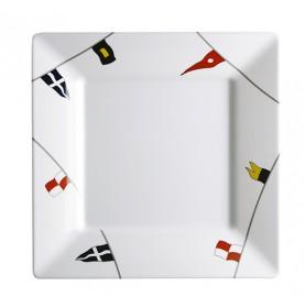 Assiette plate carrée motif drapeau antiderapante