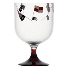 6 mini verres à vin pied rouge et motifs drapeaux