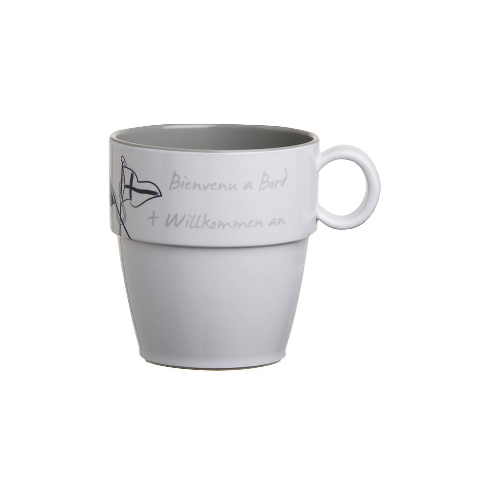"""Set 6 mugs antidérapants gris & blancs sérigraphiés - """"WOB"""""""