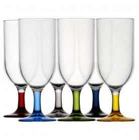 6 mini-flûtes à champagne pied multicolore