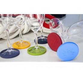 """6 Base antidérapantes en silicone pour verres à vin - """"PARTY"""""""