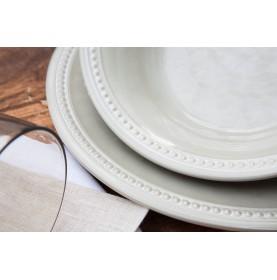 """6 assiettes à dessert couleur sable, contour perlŽé et effet terre cuite - """"HARMONY"""""""