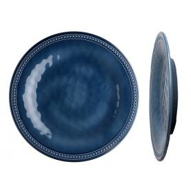 """6 assiettes plates bleues effet terre cuite contour perléŽ - """"HARMONY"""""""