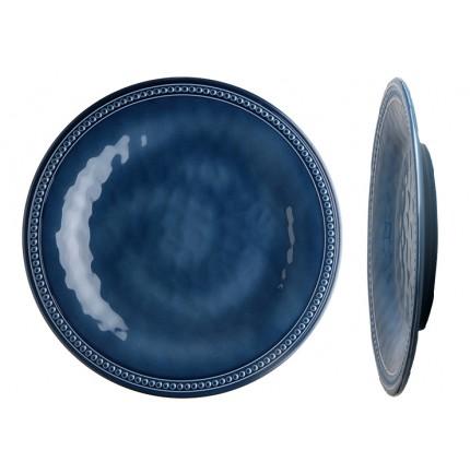 6 assiettes plates bleues effet céramique contour perléŽ