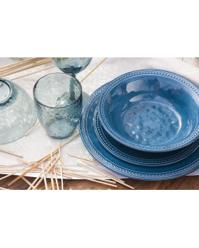 6 assiettes plates bleues nuit aspect céramique perléŽe
