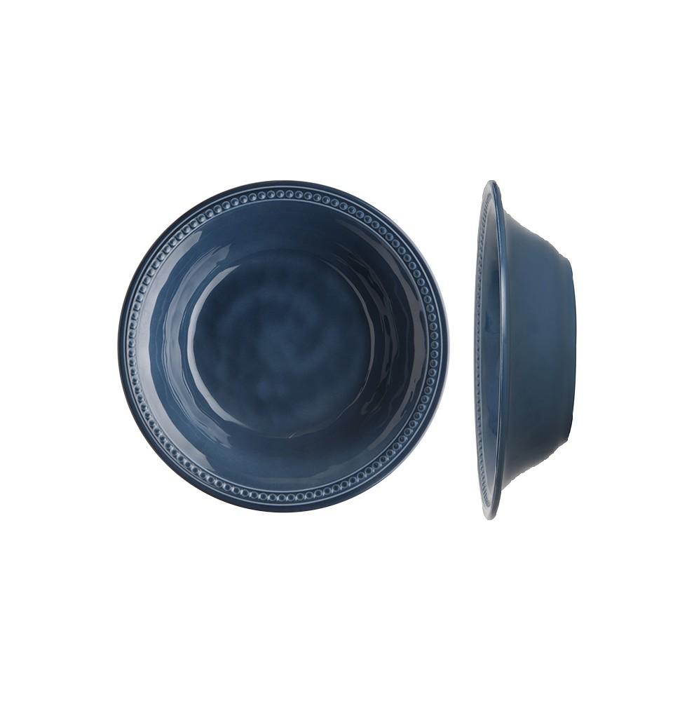 """6 assiettes creuses perléŽes effet terre cuite couleur bleue indigo - """"HARMONY"""""""