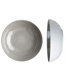 """6 assiettes creuses effet terre cuite, grises et blanches - """"ROSETTE"""""""