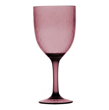 6 verres à pied transparents martelés couleur framboise