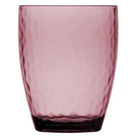 6 verres à eau transparents martelés couleur rose