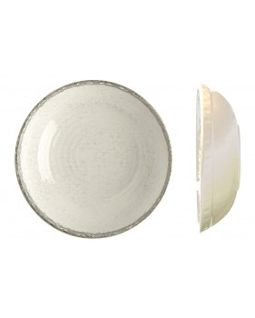 6 assiettes creuses couleur ivoire et liseré gris