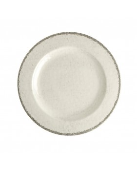6 assiettes à dessert coloris ivoire à bordure grise