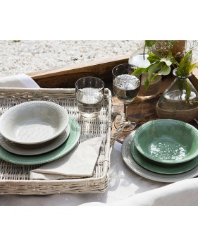 """6 assiettes plates verte pale contour perlé - """"HARMONY"""""""