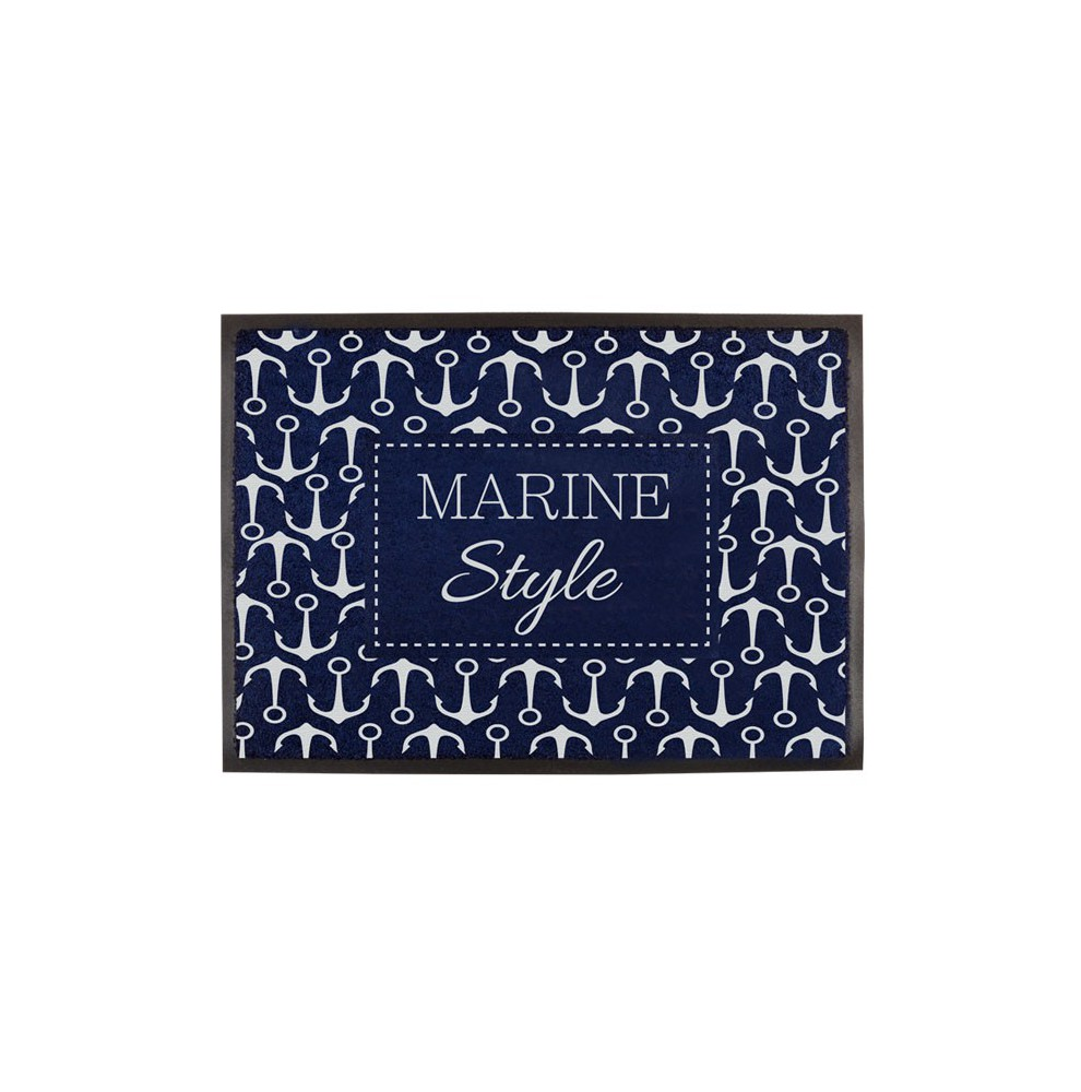"2 tapis de pont bleus antidérapants ""Marine style"" motif ancres"