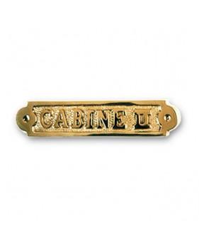 """Plaque décorative en laiton """"CABINE II"""""""