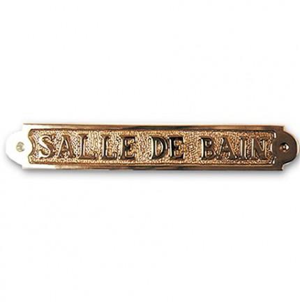 """Plaque décorative en laiton """" SALLE DE BAIN  """""""